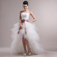 On Sale Drop Shipping New Spring 2014 Princess Front Short Back Long Slim Bridal Wedding Ball Dresses Gowns Short Trailing Dress