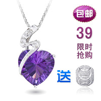 Amethyst heart 925 pure silver necklace pendant female short design silver gift
