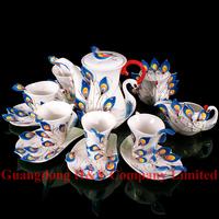 Peacock Porcelain enamel 4 sets a lot coffee set tea pot set tea pot sugar bowel milk pot coffee cups spoons