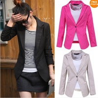 Free shipping# Womens Fashion Slim One Button Tunic Foldable Sleeve Blazer Jacket Coat