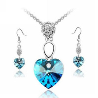 Free Shipping New Fashion Romantic Heart Shaped Crystal Pendant Necklace & Earrings for Women Ladies Wedding Crystal Jewelry Set