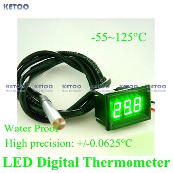 Мини цифровой термометр зеленый из светодиодов водонепроницаемый термометр измеритель ...