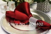 free shipping burgundy  plain satin napkin wedding/napkins