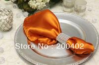 free shipping burnt orange plain satin napkin wedding/napkins