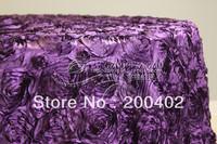 free shipping new desgin purple  satin rosette table cloth  for weddings decoration