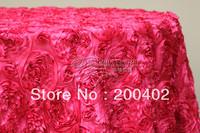 free shipping fuchsia  satin rosette table cloth  for weddings decoration