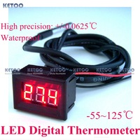 New DC 12V 24V Temperature Monitor Meter  Red LED Digital Thermometer -55~125 degree Free shipping Dropshipping