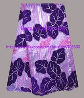 Free shipping african lace fabric organza lace with velvet  high quality wholesale and retail  BCL00991 purple