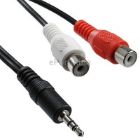 2 RCA Female to 3.5 MM Male Jack Audio Y Cable, Length: 20cm