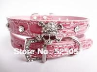 Free shopping Rhinestone Crystal Skulls  Pet Puppy Collars Croc Dog Cat Collars Pet Collar PU leather new