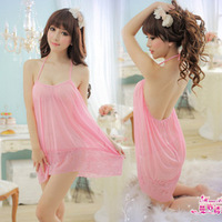 Summer sexy sleepwear female transparent gauze spaghetti strap nightgown pink lace underwear twinset temptation