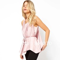 Haoduoyi Lilac satin double layer chiffon sleeveless shirt for women tops fashion bloses 2013 women's clothing ladies shirts