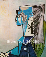 Oil Painting Reproduction on Linen canvas,sylvette-david-in-green-chair by Picasso,,Museam Quality,Free fast shipping,HANDMADE