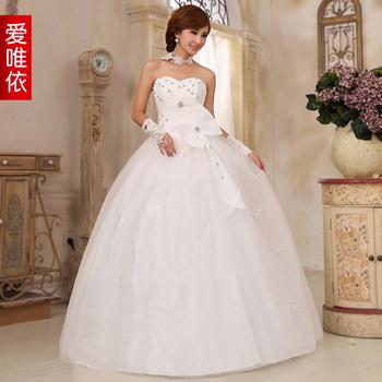 Love 2013 rhinestone pearl wedding dress princess wedding dress bow tie wedding dress