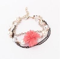 Min. order is$15(mix order)Factory price,Korean temperament small flowers of Diamond Bracelet