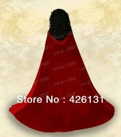 Free shipping New Red Velvet  Satin  Hooded Vampire Cape Halloween Party Cloak Halloween costumes witchcraft  Size S-XXL