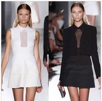 Free Shipping! Summer women's new hollow Beckhams the same paragraph short-sleeved dress lapel Slim package hip