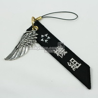 Blue star alliance mobile phone chain silver metal wings gift