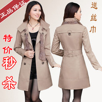 2013 spring plus size outerwear slim trench female spring and autumn