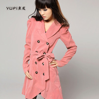 2013 spring women's trench women outerwear double breasted slim trench spring and autumn female plus size