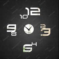 FREE SHIPPING Mirror wall stickers clock fashion 2014 digital meter fashion personalized giftsZ035