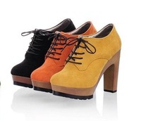 A2013 New Spring European and American style retro fashion high heel thick heel lace-up shoes waterproof women's singles