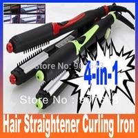 Rotating plate 4-in-1 interlocking ceramic hair straightener curling iron Free Shipping
