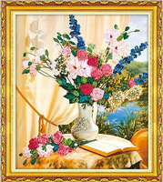 Silk Ribbon Embroidery Kits Unfinished,Bloom happiness,background color printing,decoration crafts, diy fabrics,satin ribbon kit