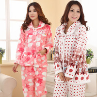 Free shipping Autumn and winter coral fleece thickening women's long-sleeve thermal robe set cartoon lounge