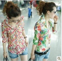 3t2 women 2014 spring and summer fashion hot-selling women's vintage floral print  slim half sleeve   shirt