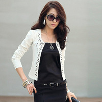 2013 Korean version of the new autumn women's new long-sleeved round neck rivet decoration small suit jacket