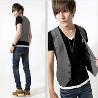 free shipping men's suit vest fitted men's clothing male vest british style slim v neck vest men waistcoat men gray