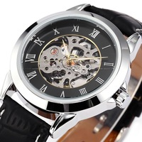 SI007 Best Vintage Collection!Classic Stainless SKELETON Men Automatic Mechanical Genuine Leather Watch automatic men