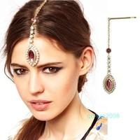 Min.order is $15(mix order)Chic Eye Drop Hair Clip Statement Jewel Grip Gem Crystal Head Piece Gold Tone