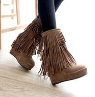 Free shipping 2013 fashion ankle snow boots wedges high heels winter platform pumps ladies women shoes woman tassels CSXX34536