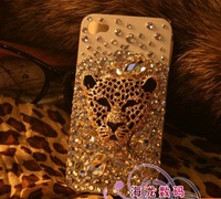 3D Leopard head rhinestone cell phone shell fashion case for iphone 4 4s 5  customs made for the buyer