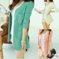 2013 spring and autumn women's plus size slim all-match long design suit long-sleeve cardigan suit jacket female
