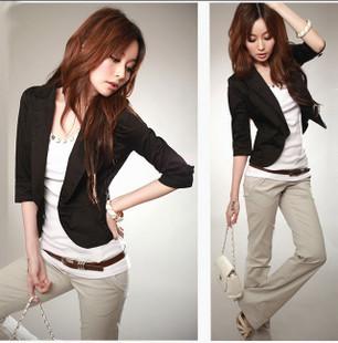 Fashion 2013 spring half sleeve small suit jacket slim female suit casual black