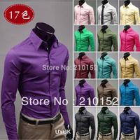 New 2014 Spring Men's Shirt Fashion Men's Cotton Long Sleeve Brand Shirt 1 PCS Free Shipping Promotion