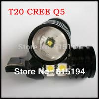 HK Free Shipping 10pcs T20 10W 12 SMD CREE R5 12 Led 12V White Reverse Light Car LED Lamp  w21w Auto Light Wholesale