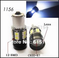 HK Post Free Shipping 10pcs 1156 ba15s 10W 12 SMD CREE R5 12 Led 12V White Reverse Light Car LED Lamp  w21w Auto Light