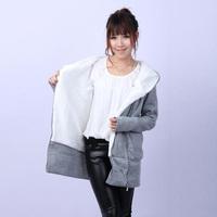 Fashion zipper street thickening turn-down collar outerwear thermal women's berber fleece