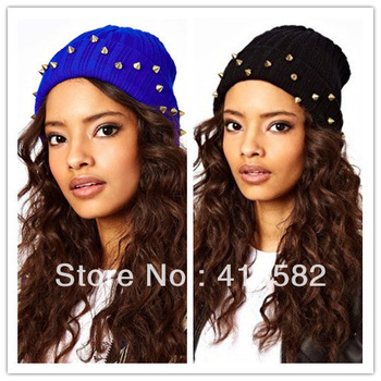 2013 new fashion punk style Korean Lovely couple  beanies fluo hat  rivets men and women's cap 7 colors available