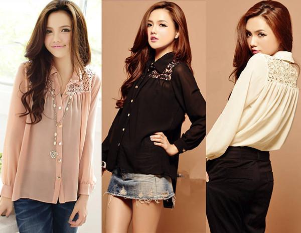 Livre Detalhe das Mulheres de envio Moda Chiffon Crochet Botão Manga Longa Camisa solto Blusa Top 3 cores Atacado(China (Mainland))