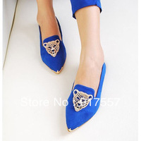 Hot sales leopard head spring pointed shoes with flat shoes metal tip princess shoes retro diamond Panther