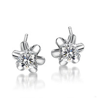 100% Genuine 925 Sterling Silver Jewelry CZ cubic zirconia stones Women Flower  Stud Earrings  free shipping E271767-B