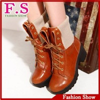 Brand new Women boots Fashion vintage thick heels platform ankle boots Sexy laceup soft leather women shoes XB079 free shipping