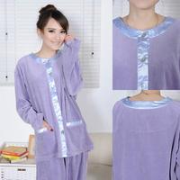 Quinquagenarian women's spring and autumn long-sleeve cotton velvet 100% lounge sleep quality quinquagenarian sleepwear set