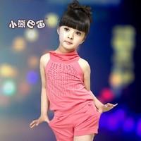 Children's clothing girls summer models 2013 Korean version of leisure suit pants big boy Budou children