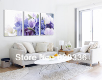 Frame Free shipping 3 Panels Modern Wall Painting Purple Flowers Home Decorative Art Picture Paint on Canvas Prints